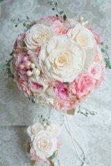 ミッキーブーケ ラウンド クラシカルII モクバラメリボン 花のみ22cm