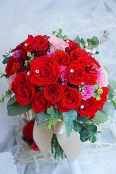 画像1: ラウンドブーケ クラッチタイプ プリザーブドフラワー赤 スワロ 幅(花のみ)22cm