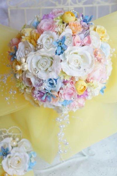 画像2: ミキミニブーケ ラウンド 大き目リボン イエロー アーティフィシャルフラワー リストレットプレゼント スワロ 花のみ22-23cm キャンペーン