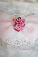 へッドドレス ミッキーシェイプ薔薇II ビッグリボン アーティフィシャルフラワーカスミソウ アジサイミッキーパールセット 色違い可