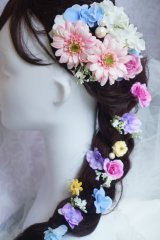 ヘッドドレス  ラプンツェル ガーベラ ミニ薔薇 アジサイ 小花 ミッキーパール3本つき アーティフィシャルフラワー